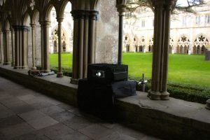 outdoor projector housing in cathedral
